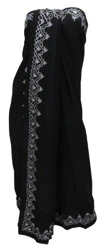 La Leela Black Designer Chain Stitched Embroidered Beach Sarong Pareo Wraps