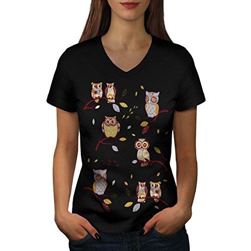 fou-chouette-une-succursale-petit-oiseau-femme-nouveau-noir-xxl-t-shirt-wellcoda