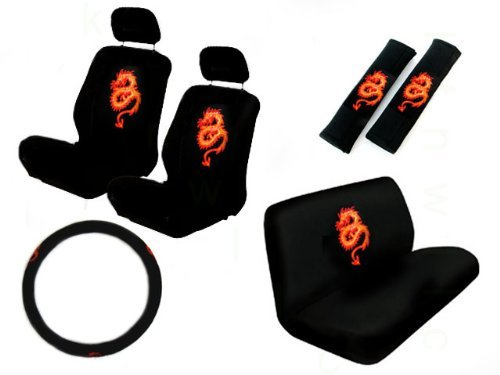 11 Piece Auto Interior Gift Set - Dragon Red - 2 Bottom Seat Covers, 2 Top Seat Covers, 2 Headrest Covers, 2 Seat Belt Shoulder Pads, 1 Steering Wheel Cover, 1 Bottom Bench Seat Cover, 1 Top Bench Seat Cover
