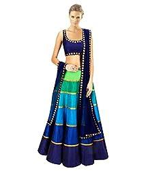 Khazanakart Designer Multi Color Banglori Fabric Un-stitched Lehenga Choli With Chiffon Dupatta Material.