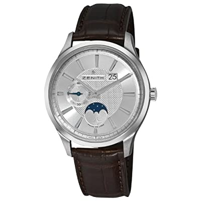 Zenith Men's 03.2140.691/02.C498 Captain Moonphase Silver Moonphase Dial Watch