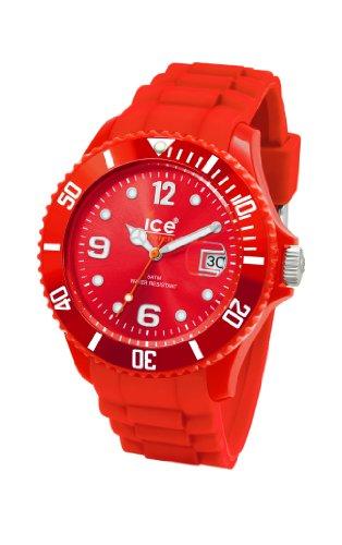 Ice Watch - SI.RD.U.S.09 - Montre Mixte - Quartz Analogique - Cadran Rouge - Bracelet Silicone Rouge - Moyen Modèle
