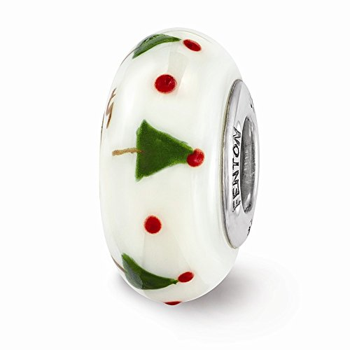 Sterling Silver Reflections Hand Painted Christmas Tree Glass Bead