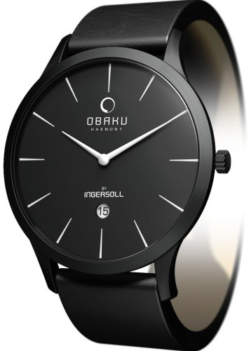Obaku By Ingersoll Gents Black Dial Black Leather Strap Watch