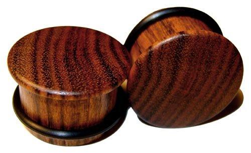 44mm Custom Chechen Single Top Hat Organic Wood Plugs