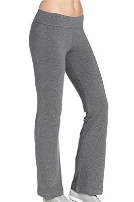 4How Women's Running Yoga Pants Fitness Trousers Boot-cut Black Grey