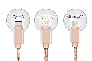 Portronics Premium Konnect 3in1 Multi function cable for Apple Iphone 4 (Rose Gold)