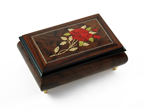 Radiant Single Stem Red Rose Musical Jewelry Box with 18 Note Tune-Take Me Home Country Roads (John Denver)