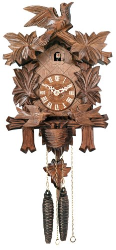 River City Clocks One Day Musical Cuckoo Clock with Maple Leaves, Birds, and Bird Nest – 15 Inches Tall – Model # M413-15