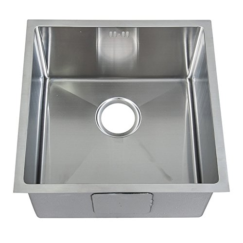 Square Undermount Deep Single Bowl Handmade Brushed Stainless Steel Kitchen Sink With Waste (DS015)