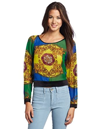 XOXO Juniors Paisley Print Slit Back Top, Emerald, Large