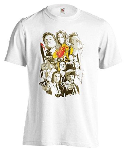 T-shirt Uomo Tarantino Movies - Maglietta 100% cotone LaMAGLIERIA,M, Bianco