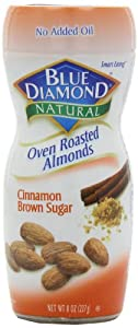 Blue Diamond Oven Roasted Almonds, Cinnamon Brown Sugar, 8-ounce container (pack of 6)
