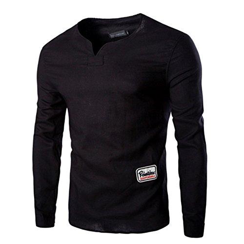 Cotone Casuale Lungo T-Shirt Manica Collare T Primavera e l'Autunno Dei Nuovi Uomini - Camicia (Nero)