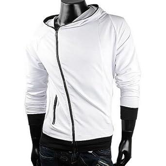 Herren Sweatjacke Hoodie Pullover Herren Pulli Hoodie sweatshirt (XL, Weiß)