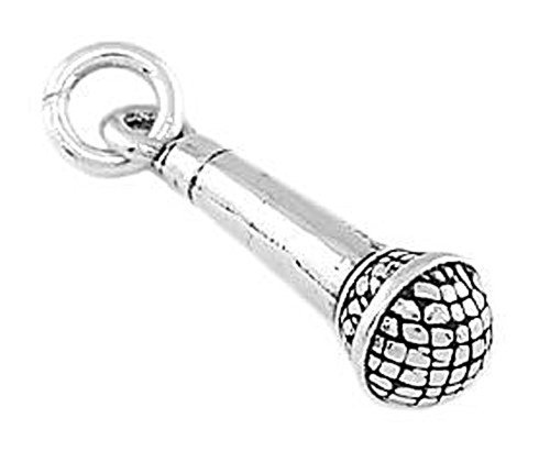Sterling Silver Three Dimensional Microphone Charm