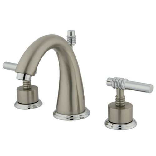 Kingston brass ks2967ml milano widespread lavatory faucet for Satin nickel widespread bathroom faucet