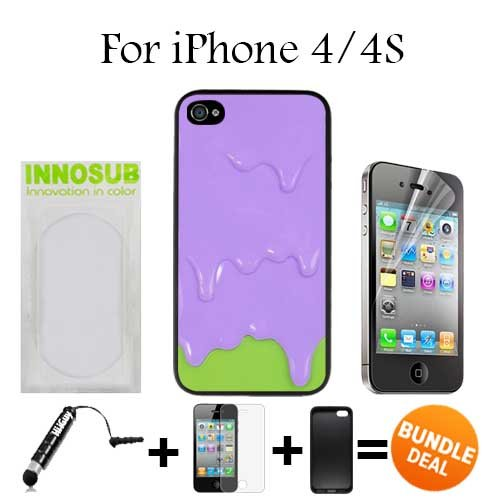 Purple Green Melting ice Cream Custom iPhone 4 Cases/4S Cases-Black-Plastic,Bundle 3in1 Comes with HD Screen Protector/Universal Stylus Pen by innosub (Iphone 4 Case Melting Ice Cream compare prices)