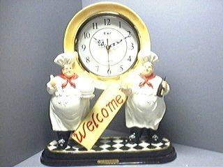 ITALIAN CHEF 3D Shelf Mantle Clock w/ GREAT Detail *NEW*!
