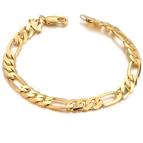 Trusted Fine Jewelers 14k Italy Yellow Gold Thick 7mm Figaro 3 + 1 Link Chain Bracelet 8.5