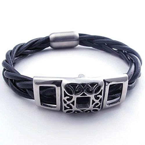anazoz-acier-inoxydable-homme-bracelet-8-85-9-pouce-et-fermoir-charme-cuir-noir