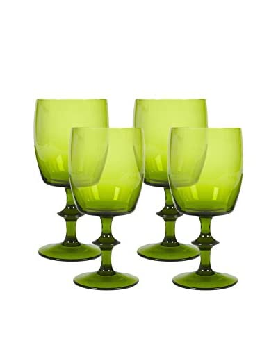 Set of 4 1960s Verde Stemmed Glasses