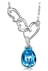 Qianse White Gold Plated Alloy Pendant Necklace with Swarovski Elements Crystal