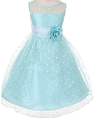Aqua Organza Special Occasion Dress With White Polka Dots Girls - 8