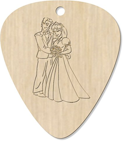 8 x Bride & Groom Engraved Guitar Pick / Pendant (GP00003129)
