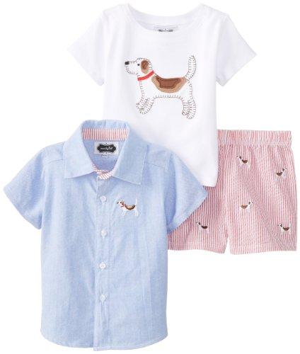 Mud Pie Baby-Boys Newborn Puppy Three Piece Set, Blue, 9-12 Months front-1053425