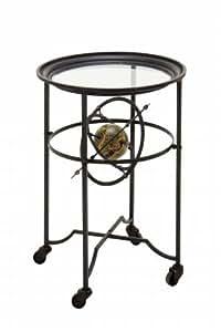 Metal Glass Antique Unique Accent Table with Wheels