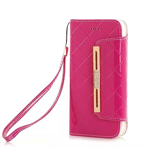 "(Case For Iphone 6/4.7 Inch) Bon Venu Smart Leather Flip Case Lady Bag Purse Elegant Purse Wallet Creadit Card Holder Flip Case Cover With Diamond For Apple Iphone 6 4.7"" Case +Screen Protector (Rose)"