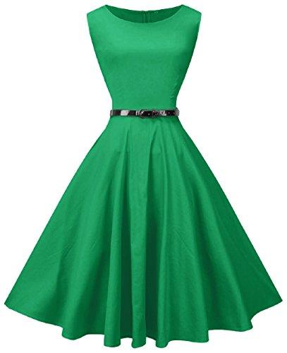 VOGVOG Women's 1950s Audrey Hepburn Sleeveless Vintage Tea Swing Dress with Belt