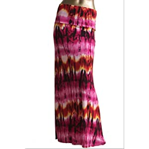 Azules Women's Stretchy Slinky Fabric Maxi Skirt (Small, Abstract-Fuchsia)
