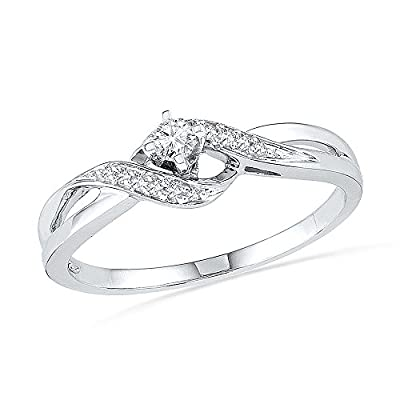 10KT White Gold Round Diamond Twisted Promise Ring