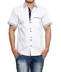 Dazzio Men's Slim Fit Cotton Casual Shirt (DZSH0913_White_38)
