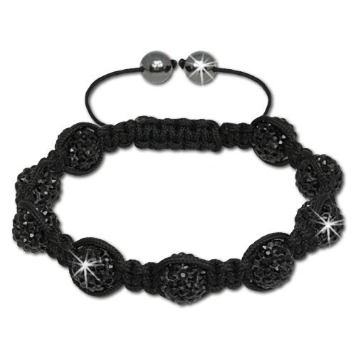 SilberDream Black Crystal Bead Shamballa Bracelet unisex with 10mm black Zirconia iced out Disco ball beads and Hematite closure SDA924