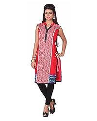 Namah Women's Cotton Regular Fit Kurti (D30-L, Red, L)