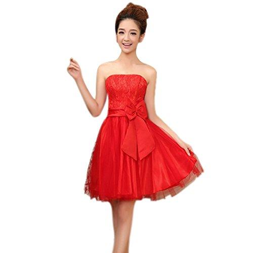 Aubig Sexy Pretty Flowers Strapless Bridesmaids Short Dress - Red
