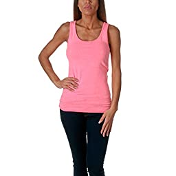 Next Level Apparel 3533 Ladies Jersey Tank Top, Neon Heather Pink, Medium