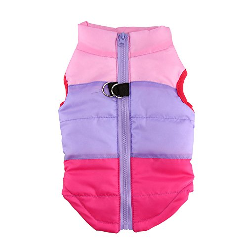 [Idepet(TM) Pet Dog Cat Coat with Leash Anchor Color Patchwork Padded Puppy Vest Teddy Jacket Chihuahua Costumes Pug Clothes XS S M L (L,] (Pugs Costumes)