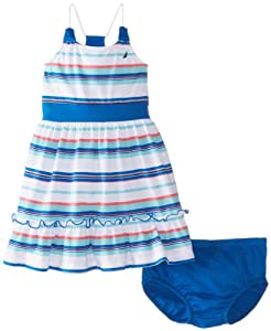 Nautica Baby-Girls Infant Multi Stripe Flounce Hem Dress from Nautica