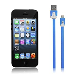 Chromo Inc USB Sync Data / Charging Lightning Cable for Apple iPhone 5 and iPod Touch 5th Gen - TANGLE FREE - Blue