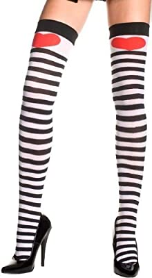 ToBeInStyle Women's Red Heart Striped Thigh Hi Stocking