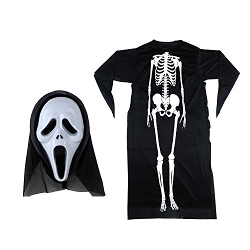 [Halloween Costume Mask, Vitalismo Christmas Horror Scream Skull Ghost Face Mask with Hood and Morris Human Skeleton Costume for Festival Cosplay Party Carnivals] (Toddler Vampire Halloween Costumes)