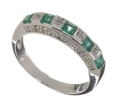 Ariel Ladies 9ct White Gold Diamond And Emerald Eternity Ring