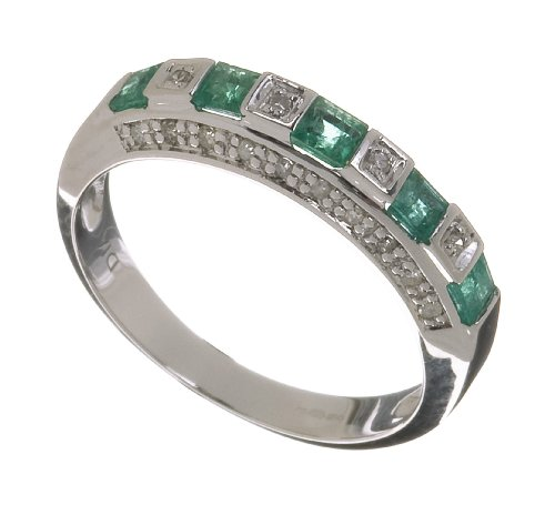Ladies 9ct White Gold Diamond And Emerald Eternity Ring