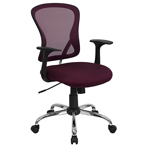 Mid-Back Mesh Office Chair with Chrome Finished Base Burgund