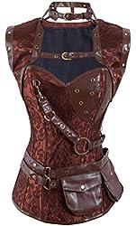 Charmian® Women's Retro Goth Steel Boned Brocade Vintage Steampunk Bustiers Corsets