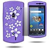 Purple Sony Ericsson Xperia Neo MT15i Soft White Flower Silicone Rubber Gel Skins Mobile Phone Mobile Phone Case Cover With Free Ultra Clear LCD Screen Film Protector